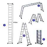 HOMCOM 4.7M 4-Section 16 Steps Multi-purpose Folding Aluminium Ladder
