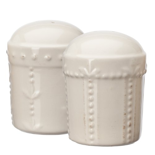 Signature Housewares Sorrento Stoneware Salt and Pepper Shaker Set, Ivory