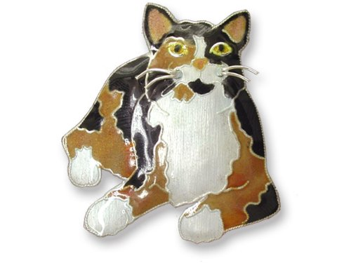 Calico Cat Sterling Silver & Enamel Pin