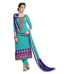 Home Deal Blue Cotton Semi Stiched Salwar Suits