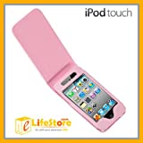iPod Touch 4th Pink Leather Case Cover Pouch Vertical Flipby elifestore