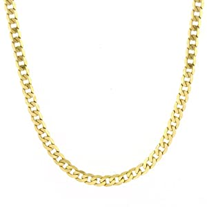 Men's 14k Yellow Gold 4.85mm Cuban Chain Necklace, 24