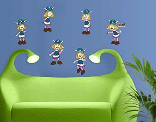 Wandtattoo Wickie Der kleine Wikinger Set Kinderzimmer Wikinger Abenteuer Junge, Größe:14cm x 10cm