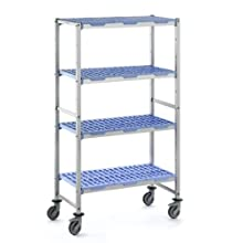 Tournus PLH1092R Commercial Anodized Aluminum Mobile Shelving Unit with Four Shelves, 22&#034; Width x 69&#034; Height, 43&#034; Length, with Four Casters