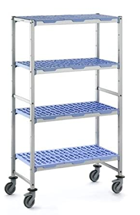 """Tournus PLH1494R Commercial Anodized Aluminum Mobile Shelving Unit with Four Shelves, 22"""" Width x 69"""" Height, 58-11/16"""" Length, with Four Casters"""