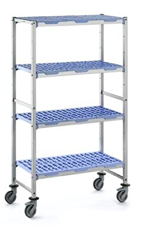"Tournus PLH1092R Commercial Anodized Aluminum Mobile Shelving Unit with Four Shelves, 22"" Width x 69"" Height, 43"" Length, with Four Casters"