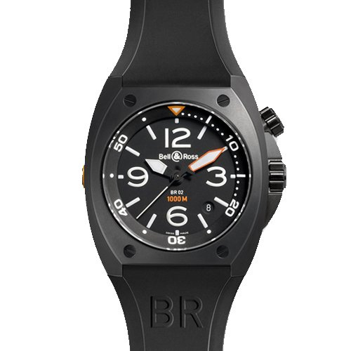 Bell & Ross BR02CA 45 Automatic Stainless Steel Case Black Rubber Anti-Reflective Sapphire Men's Watch