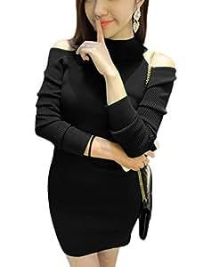 Ladies Pullover Cut Out Shoulder Leisure Sheath Dress
