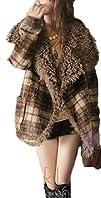 Retro Trendy Big Fur Coller Tartan Woolen 2 Color Short