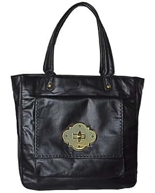 Cynthia Rowley Handbag Black Leather Helena Tote Bag Purse For Women