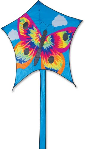 Premier 45998 5-Sided Polygonal Penta Kite with Solid Fiberglass Frame, Tie Dye Butterfly