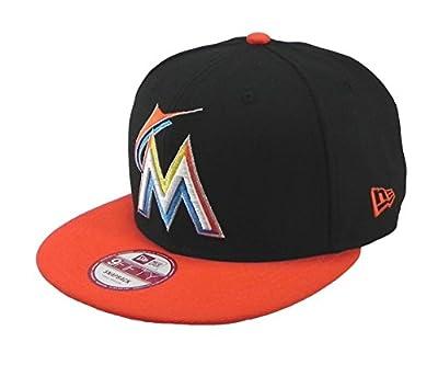 New Era Hat 9fifty Miami Marlins Major Snapback Black/orange Cap Medium/large