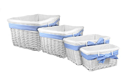 Lukasian House White Willow Baskets with Blue Bow, Set of 4 (Lukasian House Storage Basket compare prices)