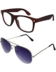 Sheomy Unisex Combo Pack Of Transparent Brown Wayfarer Sunglasses And Silver Dark Blue Aviator Sunglasses For...
