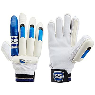 SS Academy Men's RH Batting Gloves (White/Blue)