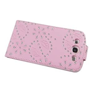 Ledertasche Business Case Cover Samsung i9300 Galaxy S3 Smartphone Etui Flip Leder Glitzer shiny chic Fashion Blink Strass pink Blumen Blumenmuster