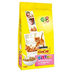 Go-Cat Kitten with Chicken, Milk and Added Vegetables Dry Cat Food 2 kg (Pack of 4)