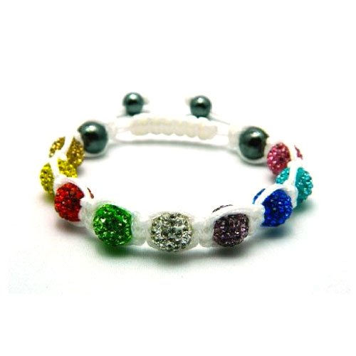 Nambeads White string Mixed Multi Colour Rainbow Swarovski Crystal Bead SHAMBALLA BRACELET with 9 Iced out Disco ball beads covered in crystals and 4 highly polished Hematite beads. Beautiful handmade high quality Celebrity Fashion bracelet. Check our ran