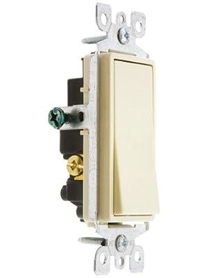 Leviton 15 Amp, 120/277 Volt, Decora Rocker 3-Way AC Quiet Switch, Residential Grade
