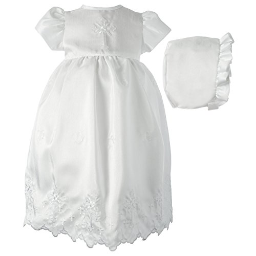 Lauren Madison Baby-Girls Newborn Shantung Dress Gown Outfit, White, 0-3 Months