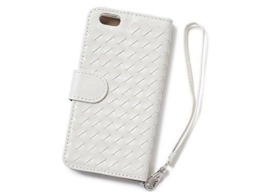 High Society [ Intrecciato ] - iPhone6 iPhone6s 4.7 インチ ケース 手帳型 シンプル 機能美  カード収納 スタンド機能 ストラップ 良質なPUレザー ♪ (iPhone6/6s, パールホワイト)