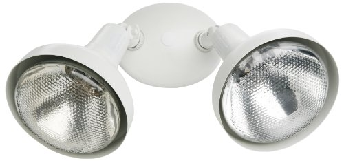 Designers Edge L-1640WH Decorative 300-Watt Incandescent Double Floodlight with Bulb Shields, White