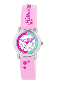 Hello Kitty Children's Quartz Watch with White Dial Analogue Display and Pink PU Strap HK025