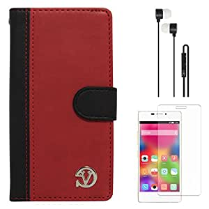 VanGoddy Premium Self Stand Mary Wallet Flip Book Cover Case for Gionee Elife S5.1 (Red) + Black Earphones + Screen Guard