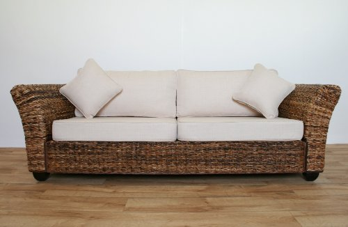 Conservatory furniture KINGSTON ABACA (Banana leaf) 3 Seater Designer Sofa