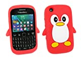 Kit Me Out US Silicon Skin for BlackBerry 8520 / 9300 Curve 3G - Red / White Cute Penguin Design
