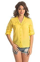 PrettySecrets Women's Button Down Shirt (PSW14BLS03J _Yellow_Medium)