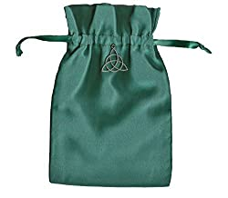 Tarot Rune Gift Bag with Irish Celtic Knot Triquetra Charm, Forest Green Satin 5 X 8