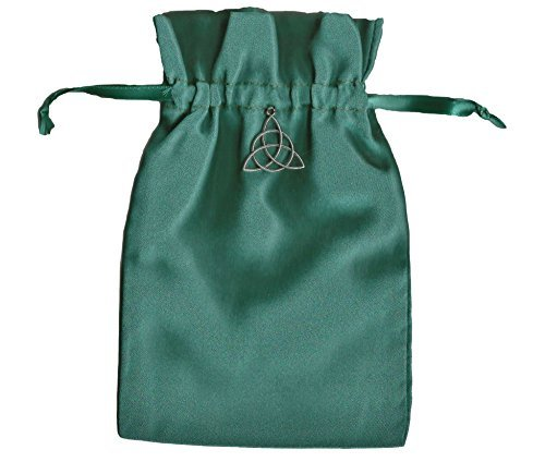 "Tarot Rune Gift Bag with Irish Celtic Knot Triquetra Charm, Forest Green Satin 5"" X 8"" - 1"