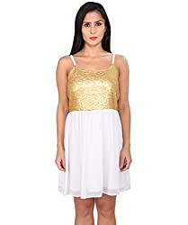 Ashtag White & Gold Georgette Sequence Dress