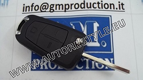 G.M. Production - OPEL05 - Guscio cover chiave ricambio telecomando OPEL a 2 tasti già a scatto [controllare foto e dettagli compatibilità]