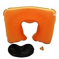 Aubigjp U型枕 空気枕 旅行 携帯用 昼休み用 エアまくら (U型まくら&耳栓&アイマスク)3点セット - Orange