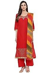 Trishaa by Pantaloons Women's Straight Churidar Kurta Dupatta ( 205000005658130, Red, X-Small)