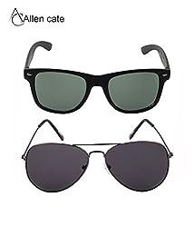 Allen Cate Combo of Black Wayfarer & Aviator Sunglasses