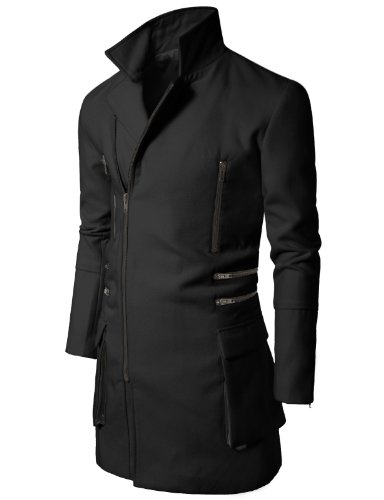 Doublju Mens Slim Coat with Zipper Point BLACK (US-XL)