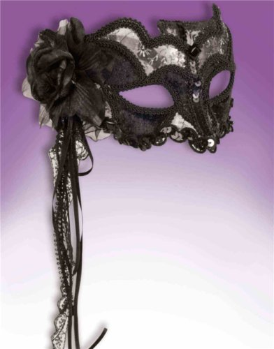 Deluxe Retro Black Venetian Carnival Eye Half Mask Sequin Large Flower