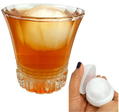 """Qq-Tech Classic Durable Ice Ball Maker Long-Lasting Silicone Tray Ice Rounds Spheres Mold- 2 Pack X 2.5"""" Freeze Ice Ball Mold Maker Slow-Melting Large Sphere Cubes By Simple Home Creations- Chill Your Whiskey Cocktail Juice And Any Drink (2.5"""" Pair, White"""