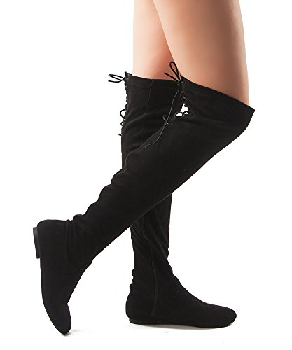 ROF Women Fashion Comfy Vegan Suede Side Zipper Over the Knee Boots BLACK (6.5)