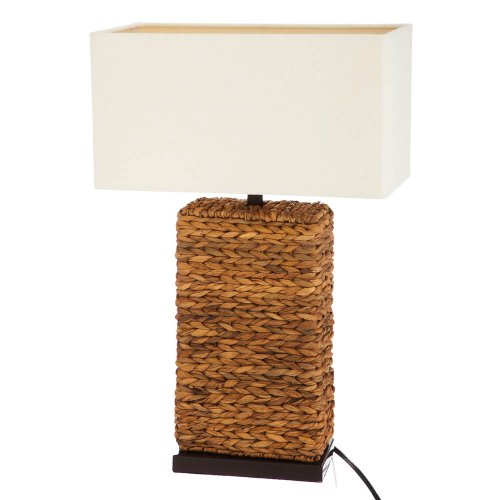 Rattan Lamp With White Shade front-876334