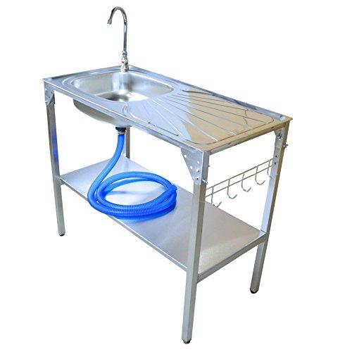 Unbekannt Waschtisch 100x50x90cm Edelstahl Camping Küche Waschbecken Spüle Arbeitstisch