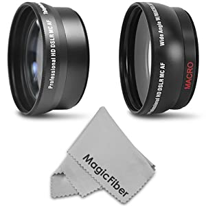 52MM 2.2x Telephoto and 0.43X Wide Angle High Definition Lenses for NIKON DSLR (D5100 D3100 D40 D60 D80 D3000 D5000 D7000) + Premium MagicFiber Microfiber Lens Cleaning Cloth