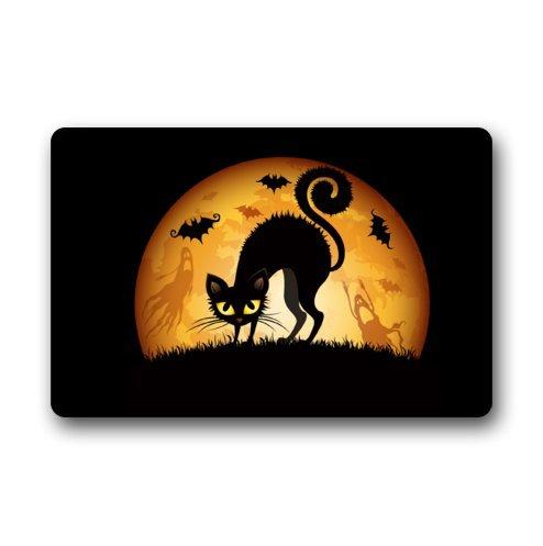"""Custom il gatto di Halloween, pipistrelli, fantasmi, motivo: erba, antiscivolo, Zerbino, 40 x 60 x 3/16 """""""