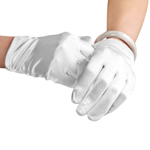 Women Ladies Elegant Fashion Classical Full-fingered Short Satin Gloves Evening Prom Wedding Outdoor Cycling Gloves White