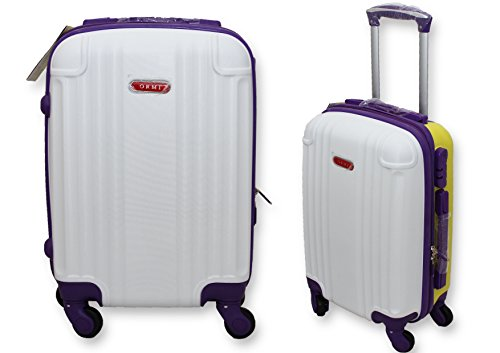 TROLLEY VALIGIA BAGAGLIO A MANO CABINA RYANAIR EASY JET 4 RUOTE ABS LOW COST (Bianco-Viola-Giallo)