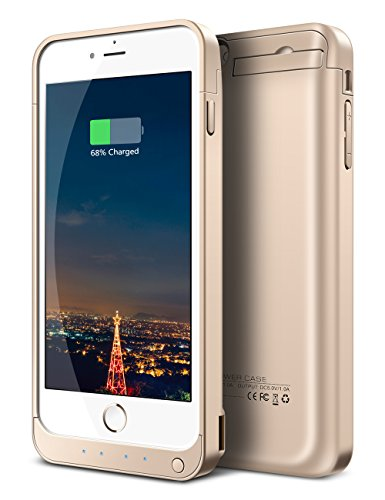 iPhone 6S Plus Battery Case, Ecpow 8200mAh Rechargeable External Battery Case iPhone 6 Plus Power Bank Case Battery Pack Portable Charger Charging Case for iPhone 6 Plus/ 6S Plus 5.5'' -Gold (Iphone Charger Custom compare prices)