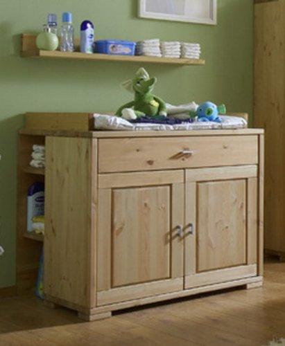 Wickelkommode Kommode Wickeltisch Babyzimmer Kiefer massiv, Farbe:natur lackiert